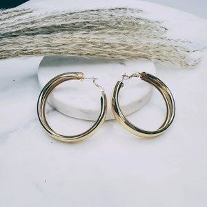 5 for $25 Gold Color Wide Hoop Statement Earrings